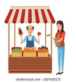 grocery man cartoon