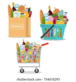 Grocery in a paper bag, in a cart and shopping basket.