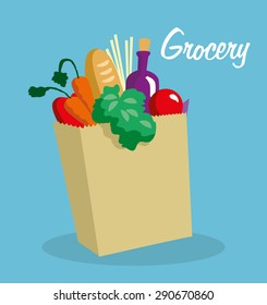 Grocery paper bag with delicious food