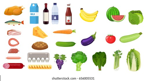 Grocery set icon. including meat fish, salad, bread, milk products. vector illustration in flat style