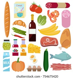 Grocery set. Milk, vegetables, meat, chicken, cheese, sausages, wine, fruits, fish, cereal, juice. Vector illustration, flat design.