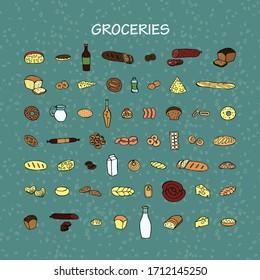 Grocery set. Vector hand drawn doodle color illustration.