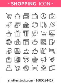 Grocery shop collection. Vector set of line thin online shopping, E-commerce icons with payment, mobile shop, wallet, sale, gift box and tags symbols. Icons for m-commerce, delivery, websites and apps