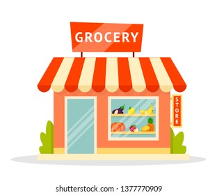 Grocery shop facade flat illustration. Eco, organic store building exterior. Vegetarian, vegan products, goods assortment. Fruits and vegetables market isolated clipart. Shopping, commerce, trade