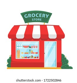 Grocery shop front. Store facade flat illustration. Eco, organic local store building exterior. Products on shelves. Fruits and vegetables market. Flat isolated vector illustration on white background
