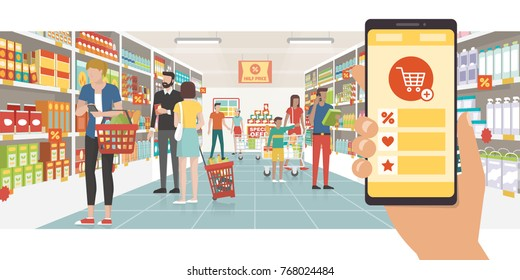Grocery shopping app on a smartphone and people buying products at the supermarket, technology and commerce concept