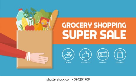 Grocery shopping banner with consumer holding a bag filled with vegetables, fruits and other food products, icons set