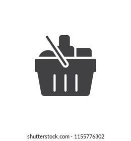 Grocery shopping basket vector icon. filled flat sign for mobile concept and web design. Basket With Food simple solid icon. Symbol, logo illustration. Pixel perfect vector graphics