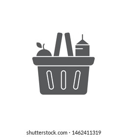 Grocery shopping basket vector icon symbol isolated on white background