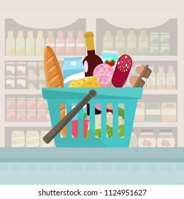 Grocery in a shopping basket. Vector illustration. Flat design.