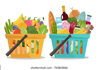 Grocery in a shopping basket and vegetables and fruits in basket. Vector illustration. Flat design.