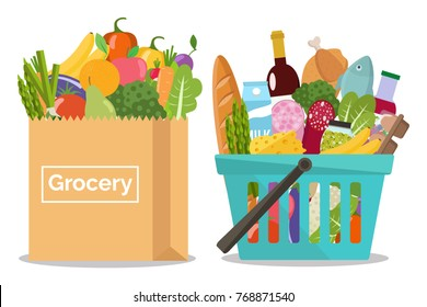 Grocery in a shopping basket and vegetables and fruits in a paper bag. Vector illustration. Flat design.