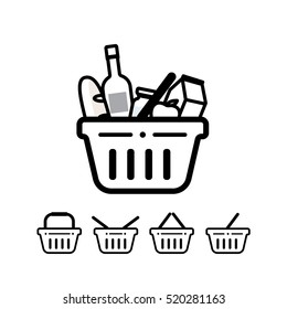 Grocery shopping baskets - vector icon set