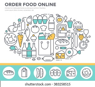 Grocery shopping and food ordering concept illustration, thin line flat design