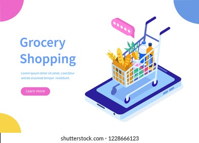 Grocery shopping online concept.Can use for web banner, infographics, hero images. Flat isometric vector illustration isolated on white background.