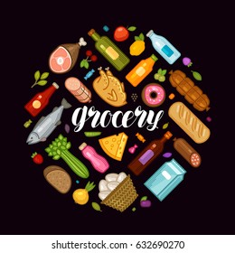 Grocery store, banner. Food and drinks icons set. Cartoon vector illustration
