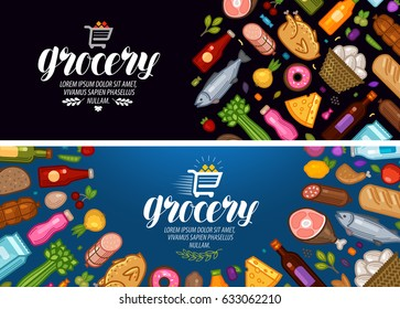 Grocery store, banner. Food and drinks label. Vector illustration