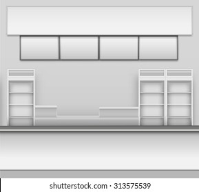Grocery Store Bar Cafe Beer Cafeteria Fast Food Counter Desk Interior Exterior Showcase Vector