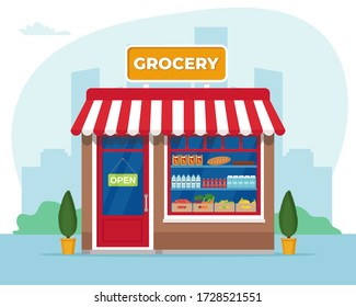 Grocery store front. Commercial, property, market or supermarket. Vector illustration in flat style