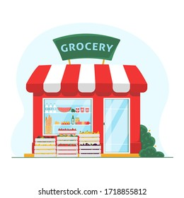 Grocery store. Front flat illustration. Groceries crates in front of storefront. Organic store building exterior. Isolated vector illustration on white background. Fruits and vegetables market