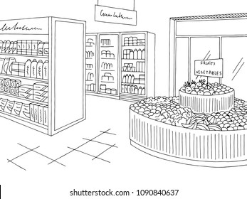 Grocery store graphic shop interior black white sketch illustration vector