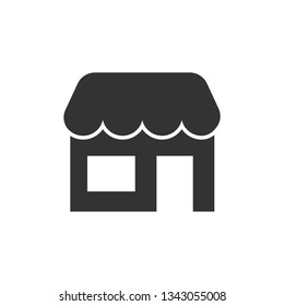 Grocery store icon in flat style. Shop building vector illustration on white isolated background. Market boutique business concept.