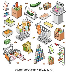 Grocery store items collection including food in paper bags, cans, money and store equipment such as cash register, shopping cart, grocery list, displays and signs (isometric vector set)