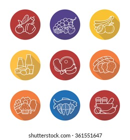 Grocery store items flat linear long shadow icons set. Raw meat, fish, bread, spices, fruits and sweets symbols. Supermarket products categories.  Outline logo concepts. Vector line art illustrations