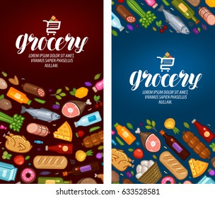 Grocery store, label. Food, supermarket banner. Vector illustration