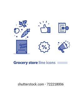 Grocery store line icon set, shopping bag and vegetables, earn reward points, loyalty program, promotion megaphone, bonus coupon, quality products, vector illustration
