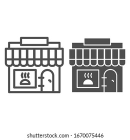 Grocery store line and solid icon. Food shopping, local supermarket symbol, outline style pictogram on white background. Bakery shop sign for mobile concept and web design. Vector graphics