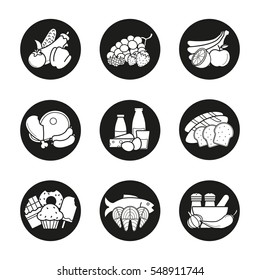 Grocery store product categories icons set. Vegetables, fruit, berries, meat, dairy and grain products, confectionery, seafood, spices. Vector white silhouettes illustrations in black circles