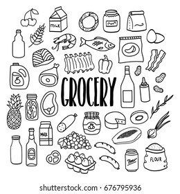 Grocery store products hand drawn doodle icons. Food and drink.