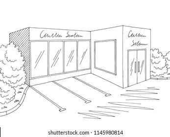 Grocery store shop exterior graphic black white sketch illustration vector