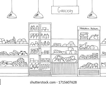 Grocery store shop interior black white graphic sketch seamless pattern illustration vector