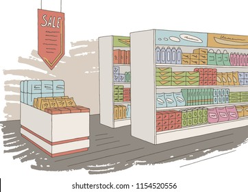Grocery store shop interior color graphic sketch illustration vector