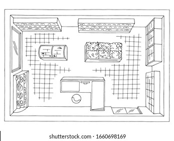 Grocery store shop interior top aerial view black white graphic sketch illustration vector