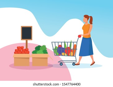grocery stores with woman shopping character vector illustration design