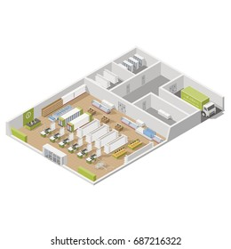 Grocery supermarket with storage rooms and goods unloading area isometric icon set vector graphic illustration