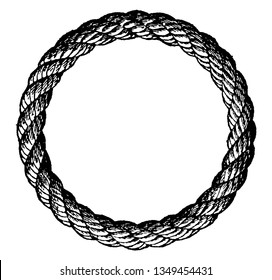 Grommet is a ring of rope used for various purposes made from a strand laid three times round its own central part formed into a loop of the desired size, vintage engraving illustration.