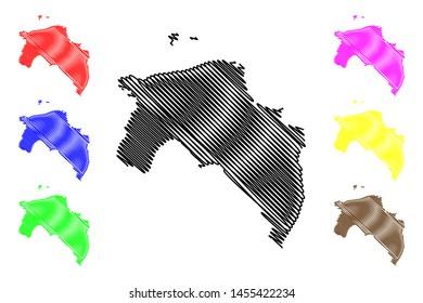 Groningen province (Kingdom of the Netherlands, Holland) map vector illustration, scribble sketch Groningen map