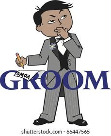 Groom Black Hair Mocha Skin Asian Features