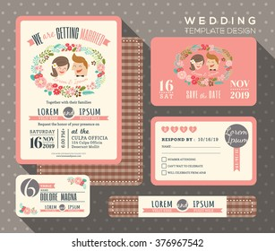 groom and bride cartoon retro wedding invitation set design Template Vector place card response card save the date card