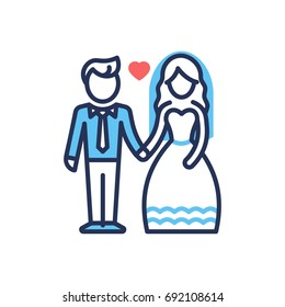 Groom and Bride - modern vector line design icon.