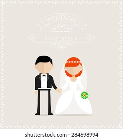 Groom and bride standing still on the wedding invitation card