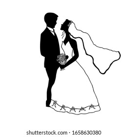 Groom and bride in veil and flowers, wedding dress. eps10 vector stock illustration.