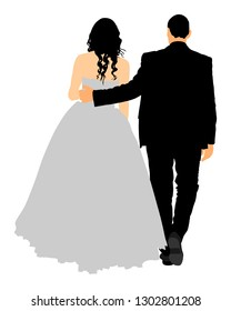 Groom and bride wedding day, in dress and suit vector illustration. Young wedding couple. Happy bride and groom after wedding ceremony. Just married couple in love. Sweet closeness and ceremony  day.