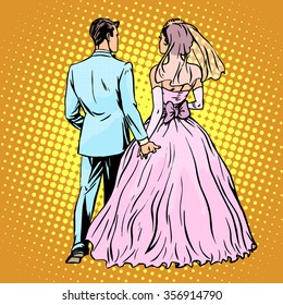 Groom bride wedding love pop art retro style. Man and woman in marriage. Rear view. Stand back. Ceremonies and events