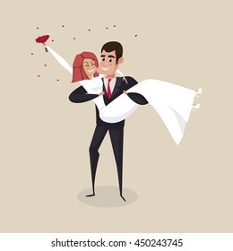 The groom carries the bride with wedding bouquet. Vector illustration