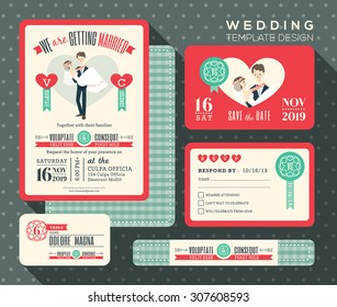 groom carrying bride cartoon retro wedding invitation set design Template Vector place card response card save the date card